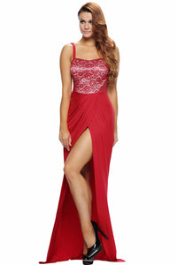 Red Lace Bustier Top Split Maxi Party Dress