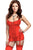 Red Lace Me up Garter Chemise Set with G-String