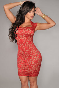Red Lace Nude Illusion Dress