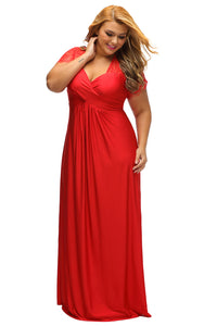 Red Lace Yoke Ruched Twist High Waist Plus Size Gown