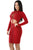 Red Lace-up Corset Cut Out Long Sleeve Dress