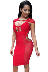 Red Mesh Sexy Cut-out Club Dress