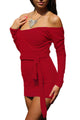 Red Off Shoulder Bodycon Club Dress with Self-tie