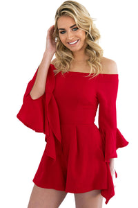 Red Off-shoulder Frill Sleeve Playsuit