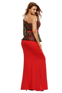 Red One Shoulder Gold Floral Lace Peplum Top Long Skirt Formal Dress