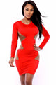 Red Panel Bodycon Dress with Mesh Detail