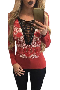 Red Printed Lace Up V Neck Long Sleeve Shirt