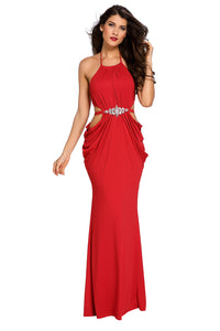 Red Sexy Cutout Draped Halter Gown with Crystal Detail