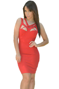 Red Sexy Shoulder Cutout Bodycon Dress