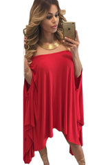 Red Strapless Asymmetric Drape Club Dress