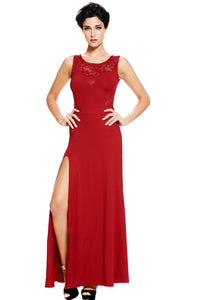 Red Sweetheart Lace Splice Party Maxi Evening Dress