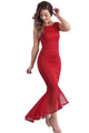 Red Tulle Fishtail Sleeveless Long Party Dress