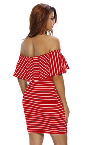 Red White Striped Off-shoulder Bodycon Dress