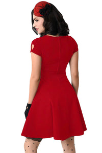 Retro Red Short Sleeve Keyhole Flare Dress