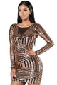 Rose Black Open Back Long Sleeve Sequin Dress