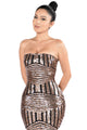 Rose Black Sequined Strapless Nightclub Dress