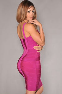 Rosy Breathtaking Bodycon Crossover Bandage Dress