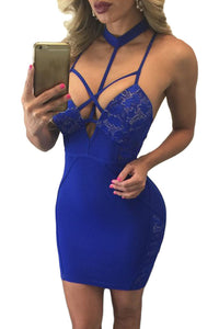 Royal Blue Choker Neck Strappy Cutout Lace Paneled Dress