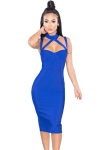 Royal Blue High Neck Hollow-out Bandage Dress