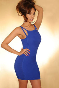 Royal-Blue Ribbed Accent Double Straps Bandage Dress