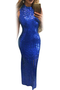 Royal Blue Sequins Keyhole Back Party Gown
