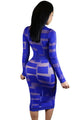 Royal Blue Sheer Mesh Patchwork Long Sleeve Dress
