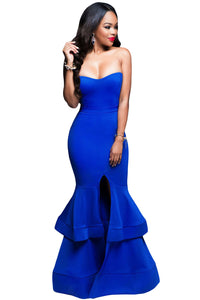 Royal Blue Strapless Padded Ponte Gown