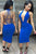 Royal Blue Strappy Open Back Plunging Club Dress