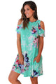 Ruffled Cold Shoulder Mint Floral Dress