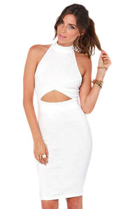 Seductress Bodycon Halter Midi Dress with Cut-out in White