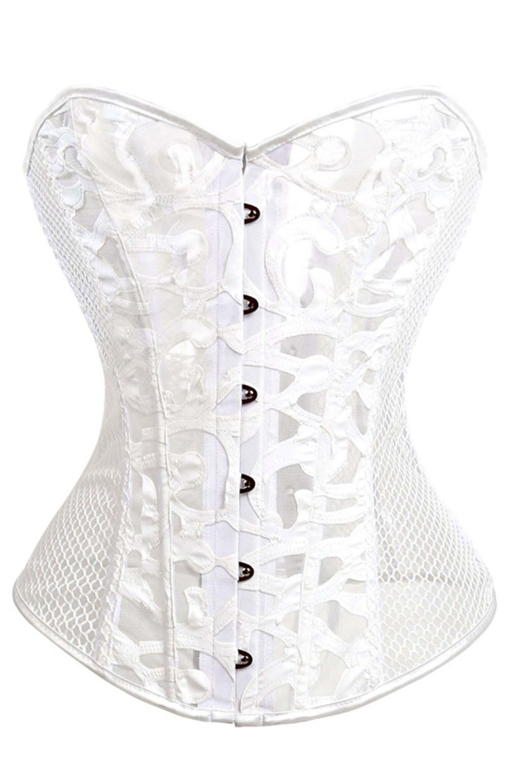 2cc1dab77fc Sexy steel bones vintage white mesh overbust corset with tong sexy  affordable lingerie corsets polyester spandex