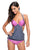 Sexy 2pcs Solid Grey Splice Striped Halter Tankini Swimsuit