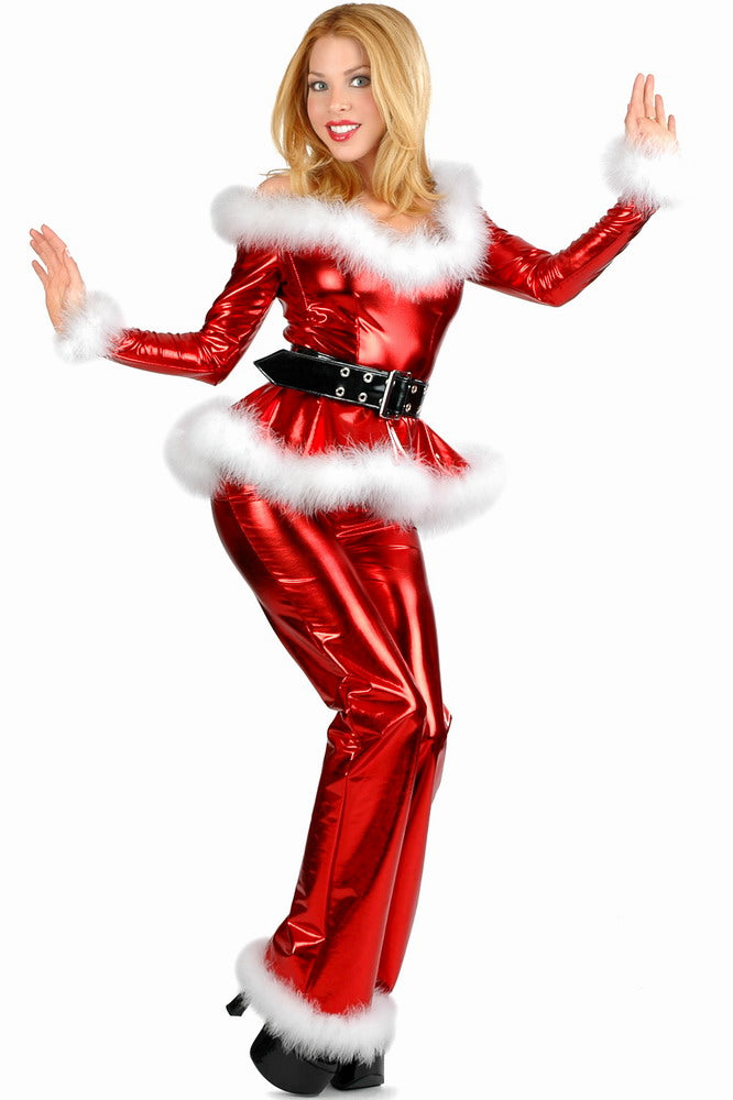 Fluffy Halloween Costumes | Sexy 4pcs Fluffy Santa Girl Christmas Costume In Red