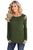 Sexy Army Green Crisscross Cold Shoulder Long Sleeve Shirt