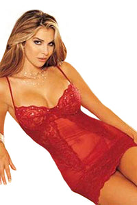 Sexy Babydoll with Red Lace Trim