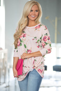 Sexy Beige Long Sleeve Knotted Floral Print Blouse