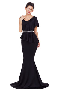 Sexy Black Asymmetric Ruffle Peplum Mermaid Party Dress
