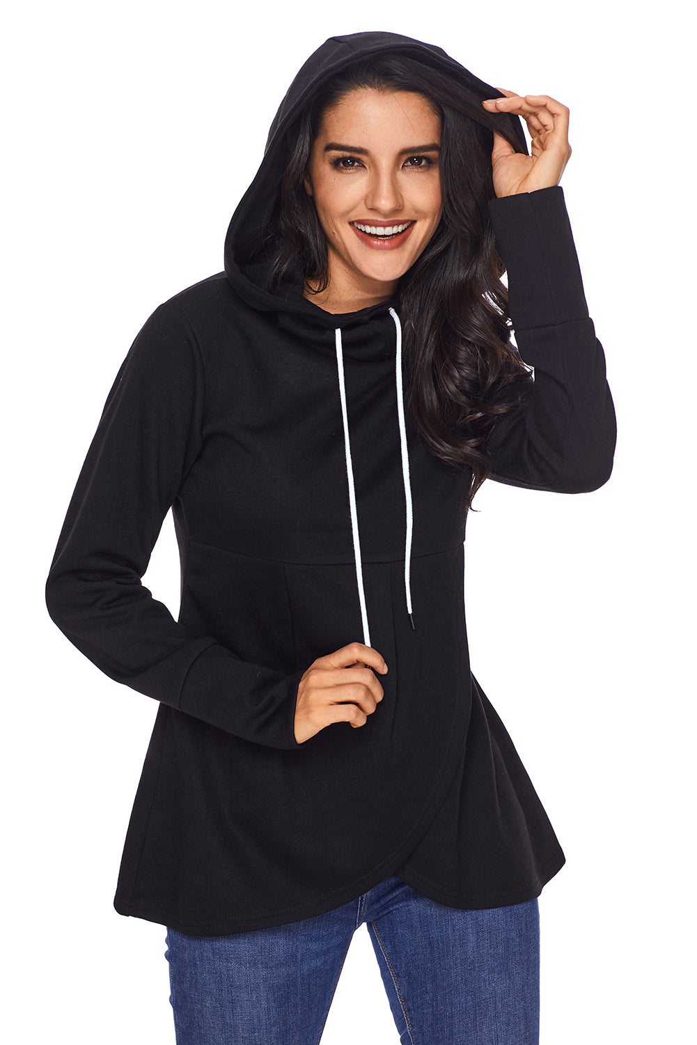 2ec36d91177 Sexy Black Casual Asymmetric Hem Pullover Hoodie – SEXY AFFORDABLE CLOTHING