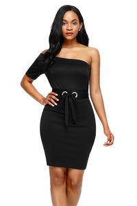 Sexy Black Club Party One Shoulder Bodycon Dress