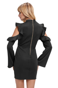 Sexy Black Cold Shoulder Ruffle Long Sleeve Bodycon Dress