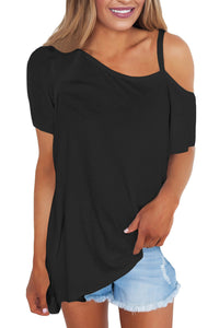 Sexy Black Cold Shoulder Short Sleeve Loose Fit Tops