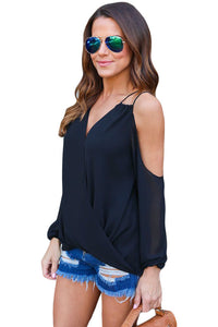 Sexy Black Cold Shoulder V Neck Wrap Front Breezy Blouse