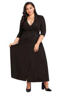 Sexy Black Collared Plus Size Tie Side Wrap Dress