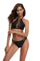 Sexy Black Crisscross Detail High Neck Halter Swimsuit