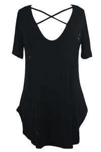 Sexy Black Crisscross Neckline Distressed Cotton T-shirt