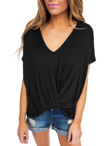Sexy Black Draped Front Knot Top