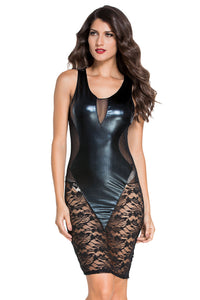 Sexy Black Faux Leather Floral Lace Mesh Little Black Club Dress