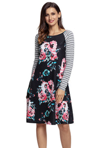 Sexy Black Floral Print Stripe Raglan Sleeve Dress