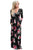Sexy Black Floral Surplice Long Sleeve Maxi Boho Dress