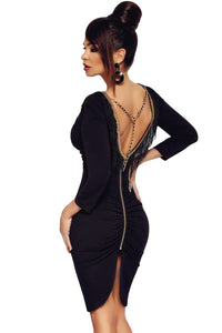 Sexy Black Fringe V Neck Long Sleeve Bodycon Dress